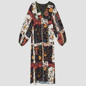 NWT Zara Patchwork Floral Print Midi Dress